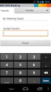 screenshot of BNI SMS Banking version 1.9