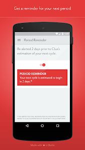 screenshot of Clue - Period Tracker version 1.8.5
