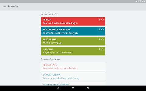 screenshot of Clue - Period Tracker version 2.0.4