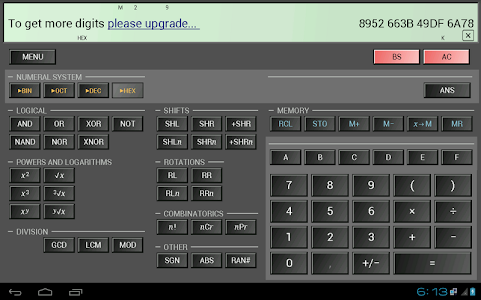 screenshot of HiPER Scientific Calculator version 1.3.2
