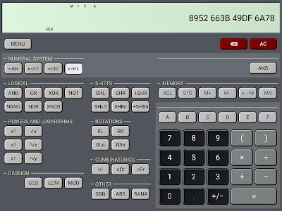 screenshot of HiPER Scientific Calculator version 4.0.1