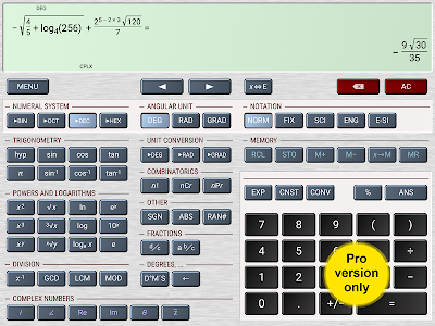 screenshot of HiPER Scientific Calculator version 4.5.2