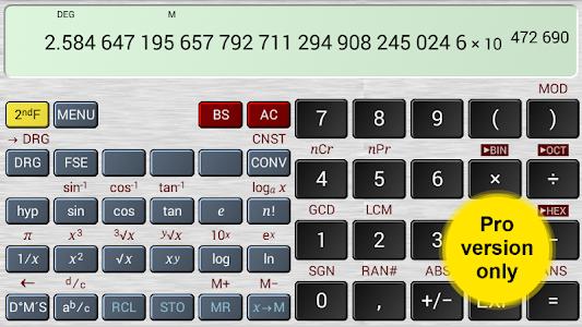screenshot of HiPER Scientific Calculator version 2.1