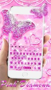 screenshot of Pink Diamond Butterfly Love Keyboard version 10001001