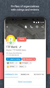 screenshot of Who calls? Caller name id Phone lookup Blacklist version 5.0.16